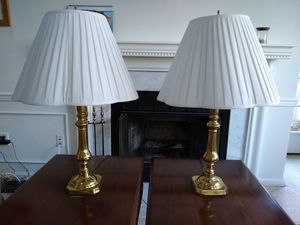 2 x solid brass lamps with scalloped shades for Sale in Reston, VA