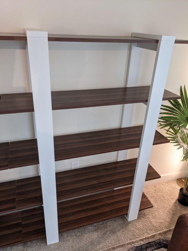 1 Or 2 Modern Walnut 5 Tier Bookshelves