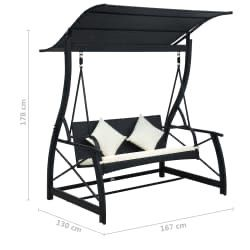 3-Seater Garden Swing Bench with Canopy Poly Rattan Black for Sale in Rocklin, CA