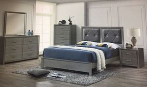Brand new queen leather diamond bedroom set bedframe dresser mirror and one nightstand no mattress for Sale in Deerfield Beach, FL