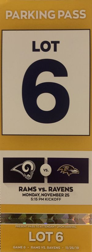 Rams parking lot pass for Sale in Riverside, CA
