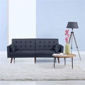 Modern Mid-Century Sleeper Sofa Bed in Dark Blue Black Linen.FF-654666777876FS. for Sale in San Francisco, CA