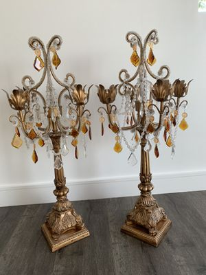 VINTAGE CRYSTAL BEADED CANDELABRAS CANDLE HOLDER w/PRISMS for Sale in Hazard, CA