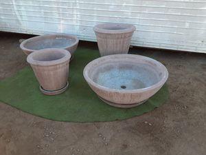 Set of four landscaping large concrete cast pots for Sale in Mesa, AZ
