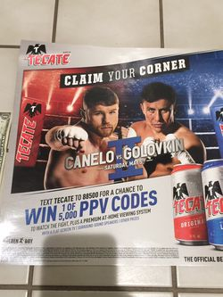 Canelo VS GGG 2 Tecate Beer Poster Promotion for Sale in Perris,  CA