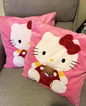 Two Hello Kitty Pillow 18x18 soft great room decor. $40 for both for Sale in Garden Grove, CA