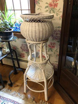 Antique white wicker planter for Sale in Billerica, MA