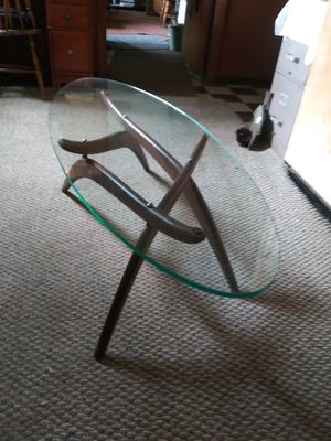Glass / wood oval coffee table for Sale in Ithaca, NY