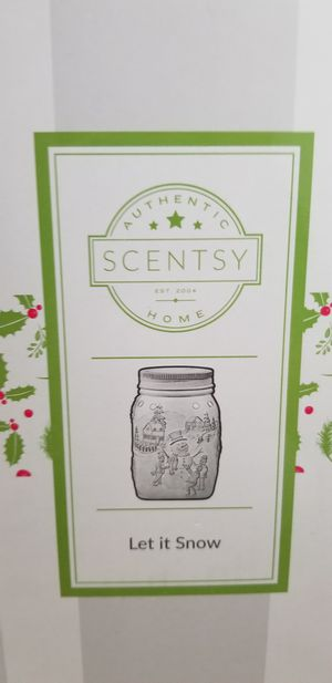 Let it snow-holiday Scentsy warmer, glowing mason jar for Sale in Hollywood, FL