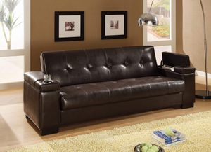 Tufted Back FUTON Sofa Bed with Cup Holders Dark Brown STORAGE for Sale in Los Angeles, CA