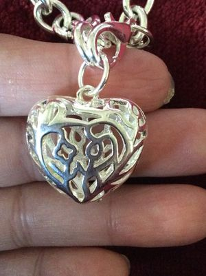 Sterling silver Heart ❤️ with silver plated chain bracelet for Sale in Round Rock, TX