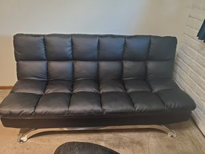 Modern Faux Leather Black Sofa/Futon for Sale in Tempe, AZ