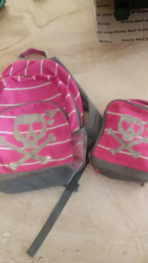 Bright pink skull backpack and matching lunch box for Sale in North Las Vegas, NV