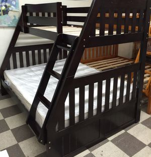 Brand new full twin wood bunk bed with mattress included for Sale in West Palm Beach, FL