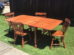 Solid Maple Wood Dining Table with 4 Chairs for Sale in South Amherst, OH