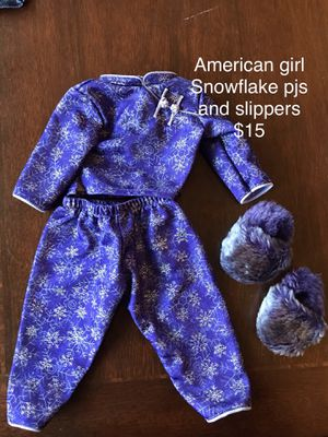 American girl snowflake pajamas and slippers for Sale in Clovis, CA