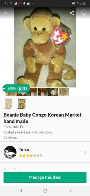 Beanie Baby Congo Korean Market hand made for Sale in Pensacola, FL