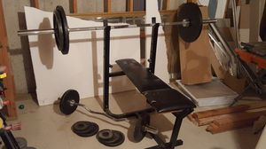 Olympic size bar, curl bar, weights and bench for Sale in Round Lake, IL