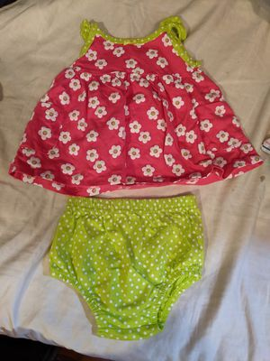 Baby girl Pink and green flower dress with bloomers 0 to 3 months for Sale in Pasadena, CA