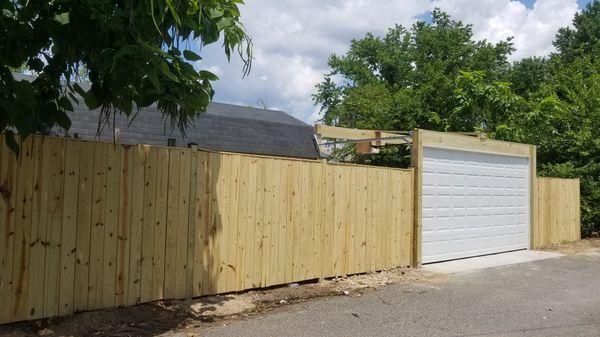 Garage doors and fence