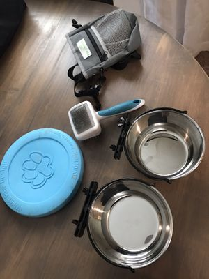 Dog supplies- two crate bowls, treat bag, toy, brush for Sale in Tualatin, OR