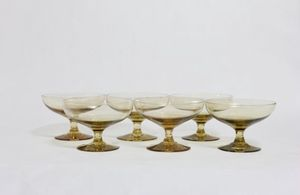 Champagne Glassware, Champagne Glasses, Vintage Glassware, Vintage, Yellow Glassware, Glasses, Vintage Yellow Glassware, Wine, Set of 6 for Sale in Los Angeles, CA