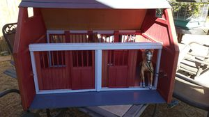 Nice Wood Red Barn With Barbie Horse Very Good Condition Has 2 Stalls With Doors Slide Open Back n Front Just Need to Be Painted for Sale in Hesperia, CA