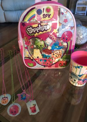 LITTLE GIRLS 6-PIECE NEW SHOPKINS SET - BRAND NEW MINI SIZE BACKPACK, 4 NEW SHOPKINS COLLECTABLE CHAIN NECKLACES, & DRINKING CUP for Sale in Colorado Springs, CO