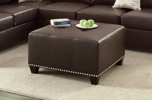 Espresso Brown Leather Cocktail Ottoman Coffee Table with Nail Head Trim NEW for Sale in Austin, TX