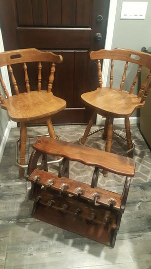 Pair of beautiful & Sturdy,,Bar stools plus wine rack holder rack.. for Sale in Castro Valley, CA
