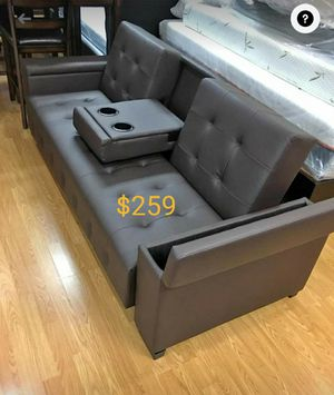 Leather sofa bed convertible sleeper couch futon with storage for Sale in Buena Park, CA