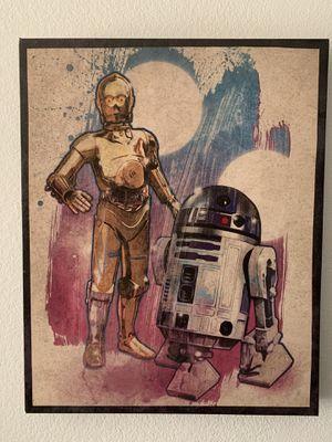 c-3po r2-d2 artissimo Disney Star Wars Droids canvas on wood for Sale in Brea, CA