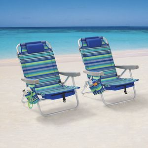 Reclining Beach & Event Lay-Flat Backpack Chair Blue & Green Stripe (2-Pack) for Sale in Fort Lauderdale, FL