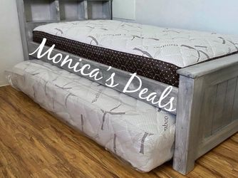 Twin Solid Wood Bed & Twin Roll Out Mattress $340 for Sale in Vernon,  CA