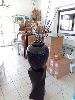 Concrete pedestal with vase and branches for Sale in Avila Beach, CA