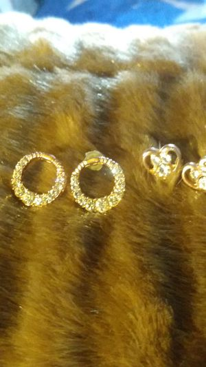 Diamond and gold tone earrings for Sale in Sacramento, CA