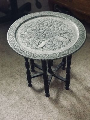 Vintage Persian Copper Silver Tone Side Tray Table Engraved Flexible Wooden Leg for Sale in San Diego, CA