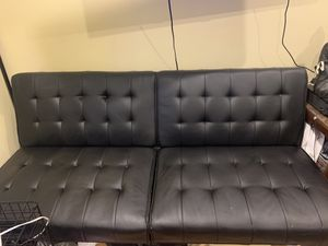 Black leather futon for Sale in Long Beach, CA