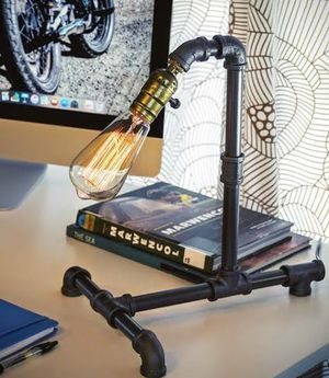 Loft Living Designer Steampunk Water Piping Desk Top Table Lamp Modern Antique Rustic Decor for Sale in Chino, CA