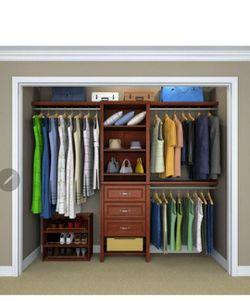ClosetMaid Impressions Premium 60 in. W - 120 in. W Dark Cherry Wood Closet System for Sale in Moreno Valley,  CA