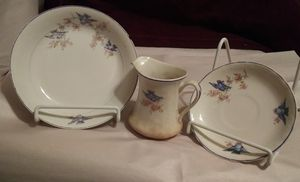 3 Antique Bluebird pieces china different but similar for Sale in Tampa, FL