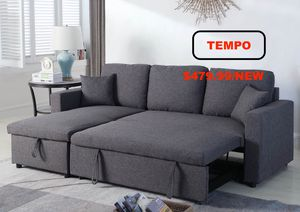 Linen Pull Out Sectional Sofa, Grey for Sale in Garden Grove, CA