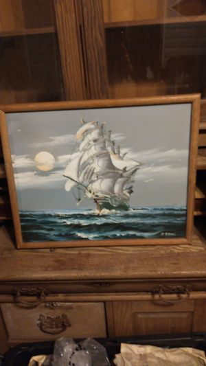 Antique Original Ship at Sea oil base on canvas painting signed by the artists H. Seni for Sale in Hamilton, OH