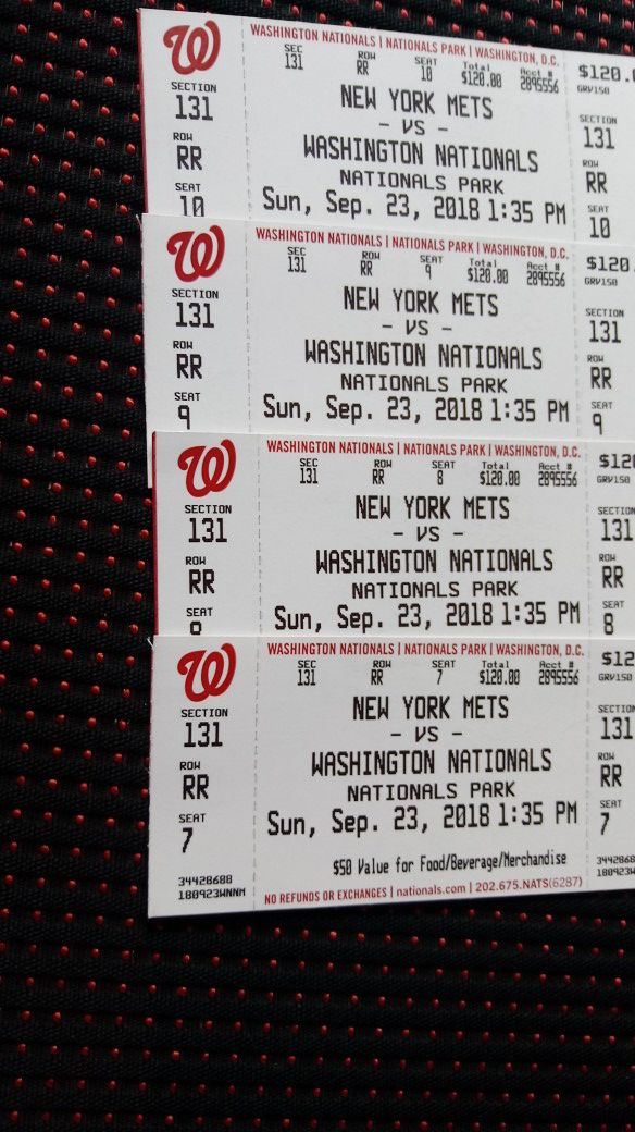 Nationals tickets (4) Sept 23 1:35pm tickets have $50 redeemable value each for food/beverage/gift shop will take a trade (offer up)! Obo