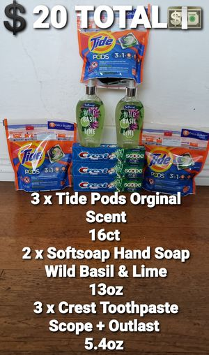 💲20 TOTAL💵 ➡ 3xTide Pods 3xCrest Toothpaste 2xSoftSoap Hand Soap for Sale in Huntington Park, CA