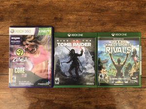 Xbox one Xbox 360 games tomb raider Kinect sports rivals Zumba dance for Sale in Arlington, TX
