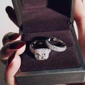 Stamped 925 Sterling Silver Promise/Engagement/Wedding Ring Set- Code SLV011 for Sale in Jacksonville, FL