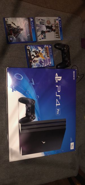I am selling a bundle of a PS4 Pro 55 inch Samsung 4K UHD smart TV stand and a sound bar for Sale in Blandon, PA