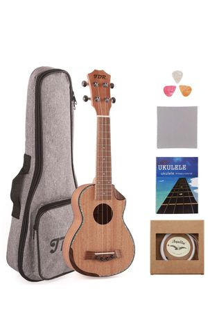 Soprano Ukulele Professional Mahogany 21 Inch Small Hawaiian Guitar with Carbon Strings Protective Bag and Beginner's Manual for Children Adults for Sale in Lilburn, GA