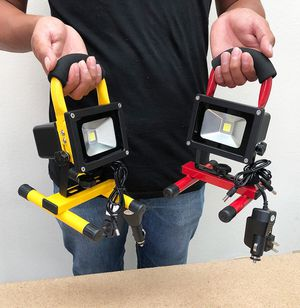 New in box $25 each Cordless 10W Portable Work Light Rechargeable LED Flood Spot Camping Lamp (Red or Yellow) for Sale in Whittier, CA